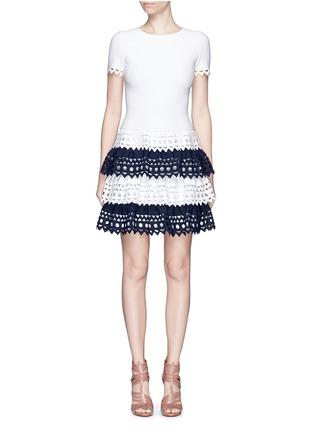 Main View - Click To Enlarge - Alaïa - 'Vienne' geometric cutout tiered knit dress