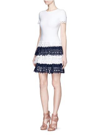 Figure View - Click To Enlarge - Alaïa - 'Vienne' geometric cutout tiered knit dress