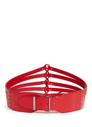 Back View - Click To Enlarge - Alaïa - Multi strap wide leather belt