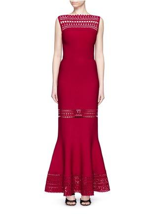 Main View - Click To Enlarge - Alaïa - 'Vienne' peplum hem geometric cutout knit dress