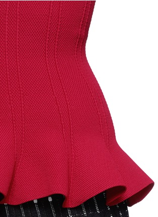Detail View - Click To Enlarge - Alaïa - Peplum hem piqué knit top