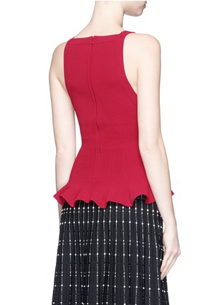 Back View - Click To Enlarge - Alaïa - Peplum hem piqué knit top