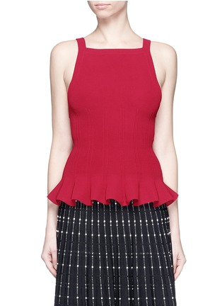Main View - Click To Enlarge - Alaïa - Peplum hem piqué knit top