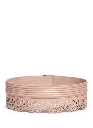 Back View - Click To Enlarge - Alaïa - 'Mini Vienne' lasercut scalloped piped leather belt