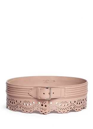 Main View - Click To Enlarge - Alaïa - 'Mini Vienne' lasercut scalloped piped leather belt