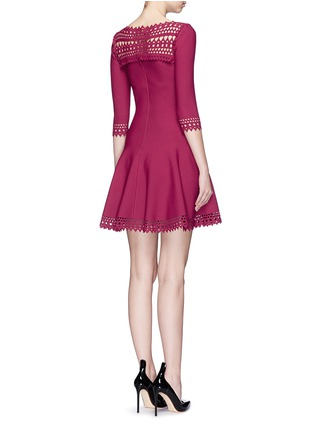 Back View - Click To Enlarge - Alaïa - 'Vienne Large' perforated flare knit dress