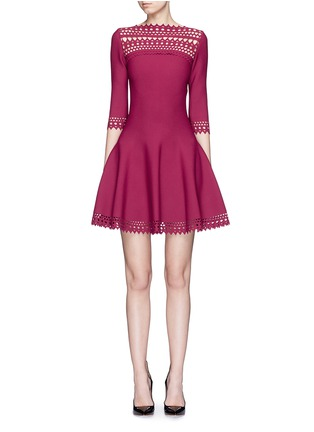 Main View - Click To Enlarge - Alaïa - 'Vienne Large' perforated flare knit dress