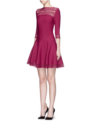 Figure View - Click To Enlarge - Alaïa - 'Vienne Large' perforated flare knit dress