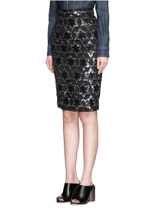 Front View - Click To Enlarge - Givenchy - Sequin star cutout silk pencil skirt