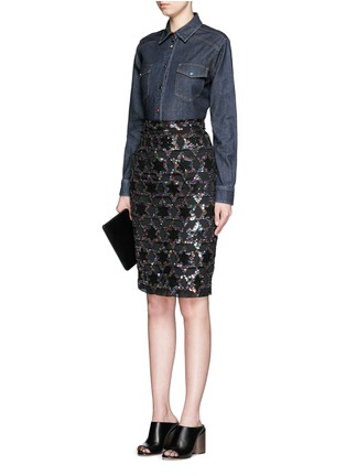 Figure View - Click To Enlarge - Givenchy - Sequin star cutout silk pencil skirt