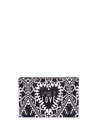 Back View - Click To Enlarge - Givenchy - 'Power of Love' large slogan print zip pouch