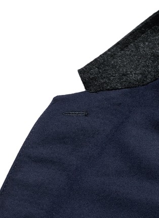 Detail View - Click To Enlarge - Lanvin - Slim fit contrast leather collar wool coat
