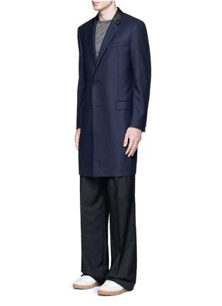 Front View - Click To Enlarge - LANVIN - Slim fit contrast leather collar wool coat