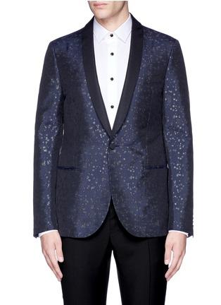 Main View - Click To Enlarge - LANVIN - Slim fit metallic jacquard tuxedo blazer