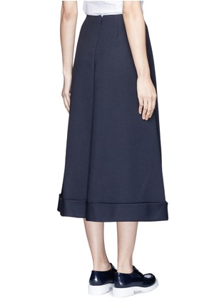 Back View - Click To Enlarge - DELPOZO - Cotton blend wide leg culottes