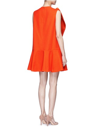 Back View - Click To Enlarge - DELPOZO - Floral pin fold textured dress