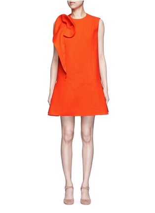 Main View - Click To Enlarge - DELPOZO - Floral pin fold textured dress