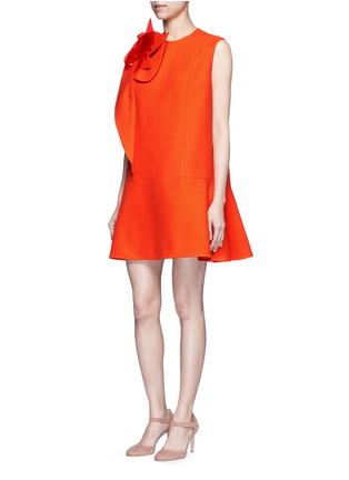 Figure View - Click To Enlarge - DELPOZO - Floral pin fold textured dress