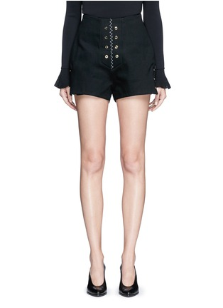 Main View - Click To Enlarge - ELLERY - 'Reinking' grommet cotton drill hot pants