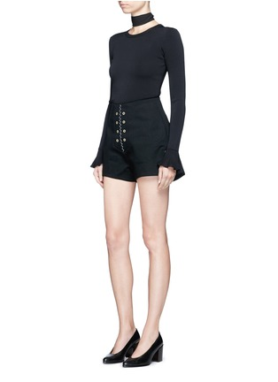Figure View - Click To Enlarge - ELLERY - 'Reinking' grommet cotton drill hot pants