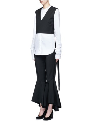 Front View - Click To Enlarge - Ellery - 'Frenetic' crisscross back cropped top