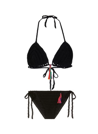 Main View - Click To Enlarge - Anna Kosturova - 'Punta Mita' rainbow tassel crochet triangle bikini set