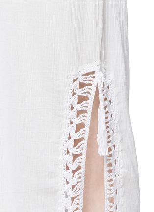 Detail View - Click To Enlarge - Anna Kosturova - 'Helena' crochet trim crinkle cotton maxi dress