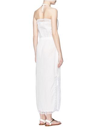 Back View - Click To Enlarge - Anna Kosturova - 'Helena' crochet trim crinkle cotton maxi dress