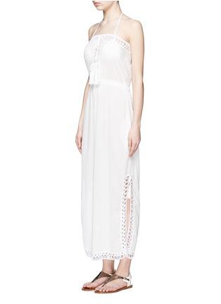 Front View - Click To Enlarge - Anna Kosturova - 'Helena' crochet trim crinkle cotton maxi dress