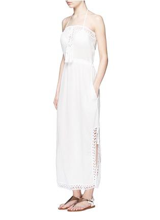 Figure View - Click To Enlarge - Anna Kosturova - 'Helena' crochet trim crinkle cotton maxi dress