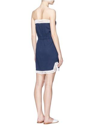 Back View - Click To Enlarge - Anna Kosturova - 'Helena' crochet trim crinkle cotton mini dress
