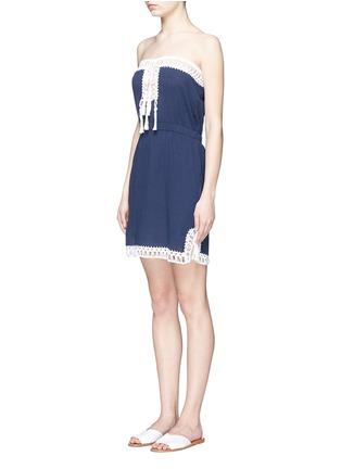 Front View - Click To Enlarge - Anna Kosturova - 'Helena' crochet trim crinkle cotton mini dress