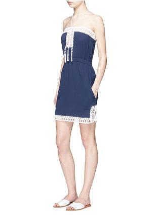 Figure View - Click To Enlarge - Anna Kosturova - 'Helena' crochet trim crinkle cotton mini dress