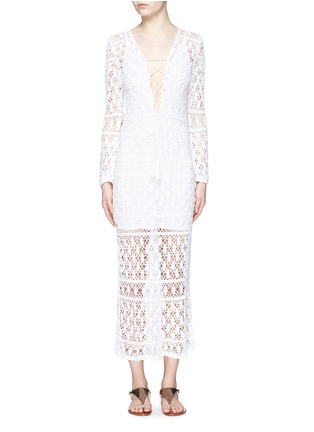 Main View - Click To Enlarge - Anna Kosturova - 'Bianca' lace-up front crochet knit dress