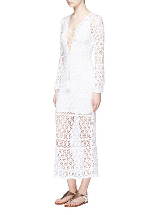 Figure View - Click To Enlarge - Anna Kosturova - 'Bianca' lace-up front crochet knit dress