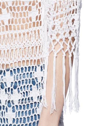 Detail View - Click To Enlarge - Anna Kosturova - Tassel crochet knit maxi kimono cover-up