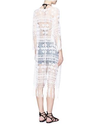 Back View - Click To Enlarge - Anna Kosturova - Tassel crochet knit maxi kimono cover-up
