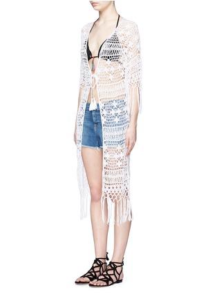 Front View - Click To Enlarge - Anna Kosturova - Tassel crochet knit maxi kimono cover-up