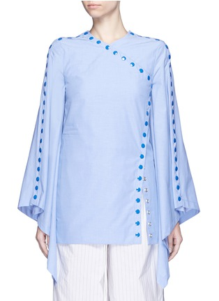 Main View - Click To Enlarge - 72722 - 'She's Come Undone' snap button cotton tunic