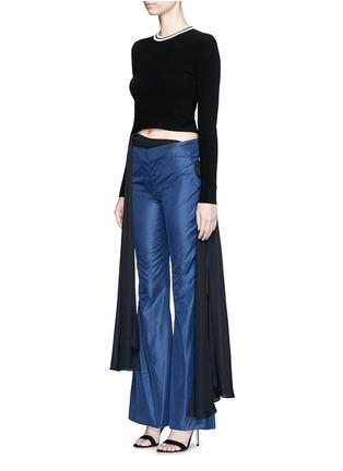Figure View - Click To Enlarge - Rosie Assoulin - Bikini side tie silk taffeta flare pants