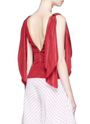 Back View - Click To Enlarge - Rosie Assoulin - 'Brush Ya Shoulder' two-way tie silk top