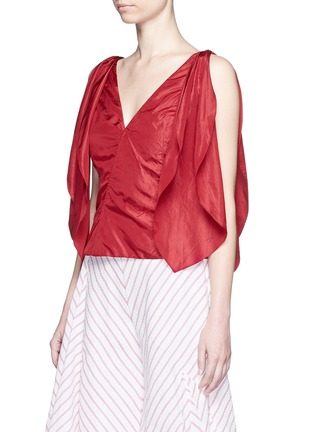 Front View - Click To Enlarge - Rosie Assoulin - 'Brush Ya Shoulder' two-way tie silk top