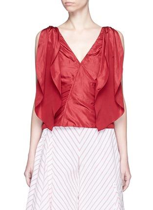Main View - Click To Enlarge - Rosie Assoulin - 'Brush Ya Shoulder' two-way tie silk top