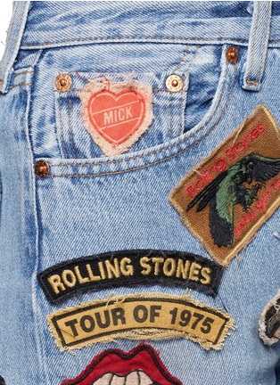 Detail View - Click To Enlarge - MadeWorn - 'Rolling Stones' one of a kind cut-off shorts