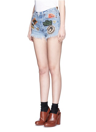 Front View - Click To Enlarge - MadeWorn - 'Rolling Stones' one of a kind cut-off shorts