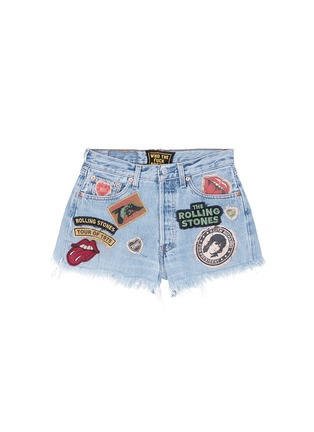 Main View - Click To Enlarge - MadeWorn - 'Rolling Stones' one of a kind cut-off shorts
