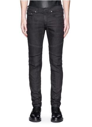 Detail View - Click To Enlarge - NEIL BARRETT - Biker raw denim skinny jeans