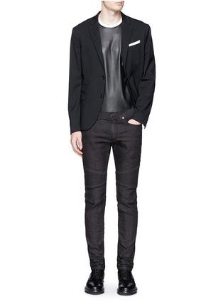 Figure View - Click To Enlarge - NEIL BARRETT - Biker raw denim skinny jeans