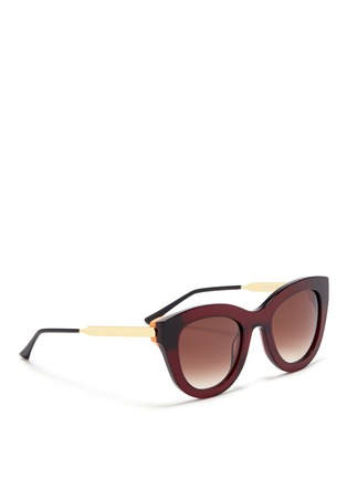 Figure View - Click To Enlarge - Thierry Lasry - 'Cupidity' metal temple contrast corner acetate cat eye sunglasses