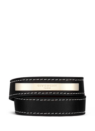 Main View - Click To Enlarge - Givenchy - Logo plate calf leather bracelet